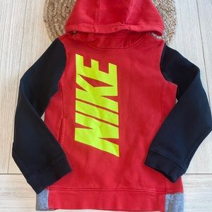 Nike red color block hooded sweatshirt size XS